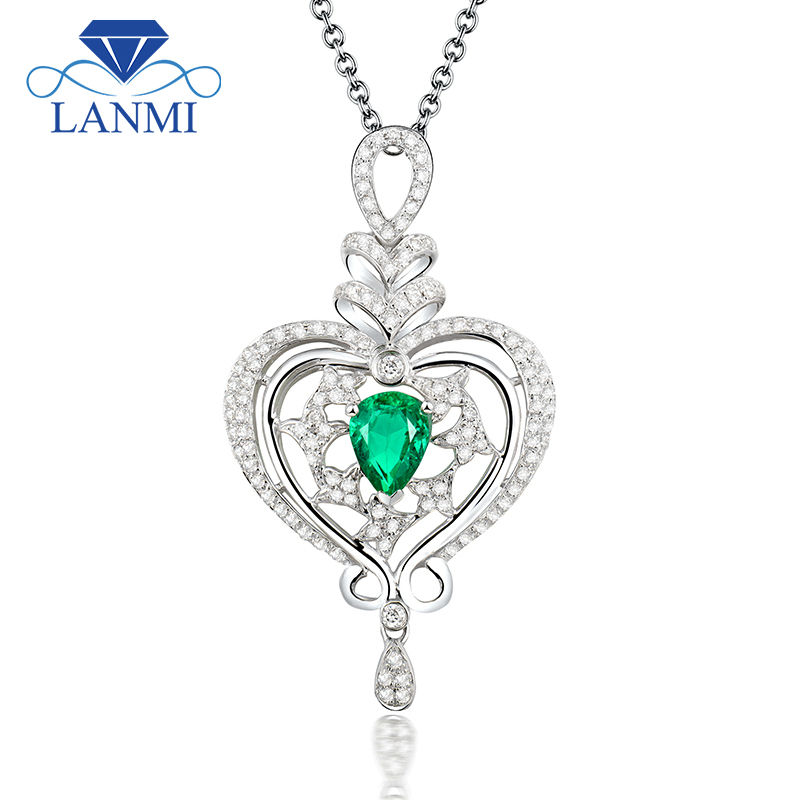 Romantic Pear Cut 5x7mm Pendant With Natural Stone Emerald 18k White Gold Diamond Pendant Necklace Jewelry WP068Romantic Pear Cut 5x7mm Pendant With Natural Stone Emerald 18k White Gold Diamond Pendant Necklace Jewelry WP068