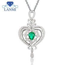 Romantic Pear Cut 5x7mm Pendant With Natural Stone Emerald 18k White Gold Diamond Pendant Necklace Jewelry WP068