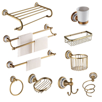 Antique Brass Brushed Bath Hardware Sets Porcelain Base Bronze Bathroom Accessory Wall Mounted Bathroom Products