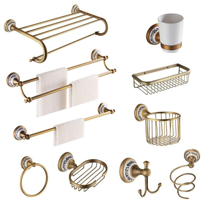 Le matériel de bain brossé en laiton Antique place les produits de salle de bains fixés au mur daccessoires de salle de bains en Bronze de Base de porcelaine