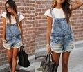 Nova moda 2016 das Mulheres Soltas shorts jeans desgastados parte superior da correia calças um-pedaço Macacões Macacão calça jeans s m l xl Grátis grátis