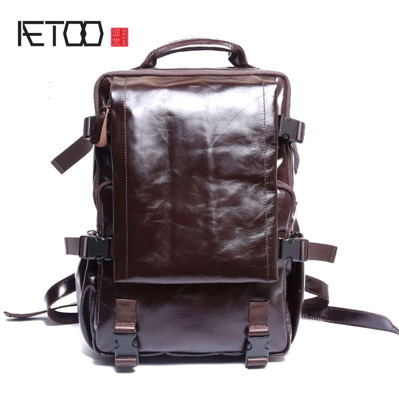 AETOO Business casual leather Backpack men fashion trend bag travel men computer джемпер мужской jlab цвет темно синий jlr721 1561 размер l 50