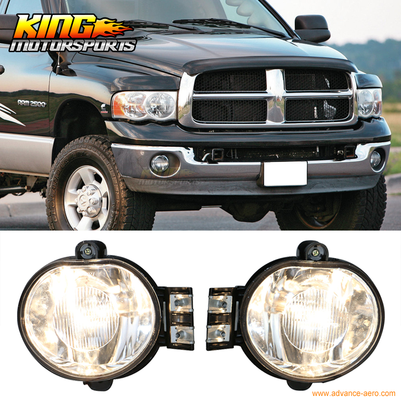 For 2003-2008 04 05 06 07 Dodge Ram Front Fog Lamp Fog Light Pair LH RH Clear Lens Wiring Kit 2003 ram 1500 headlights
