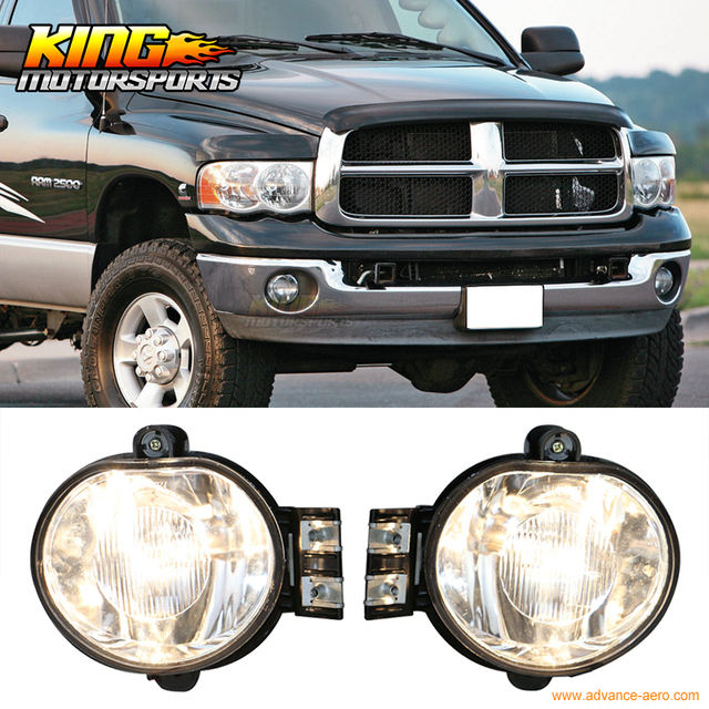 For 2003 2008 04 05 06 07 Dodge Ram Front Fog Lamp Light Pair Lh Rh Clear Lens Wiring Kit