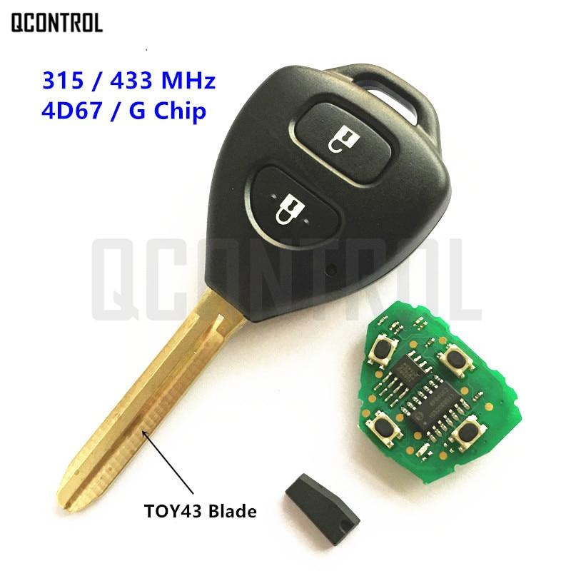 QCONTROL Remote Key for Toyota Camry Corolla Prado RAV4 Vios Hilux Yaris Car 315MHz/433MHz G/4D67 Chip