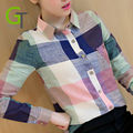 Women Plaid Shirt Cotton Chiffon Shirt Long Sleeve Women Blouses Autumn Shirt Blusas Tops Blouse Check Striped Slim Clothing Hot