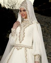Long Sleeve Muslim Wedding Dress Wedding Gowns Crystals Luxury Beaded Princess Dantel Gelinlik With Hijab Abiye Renda