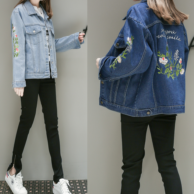 5xl plus big size jean jackets women spring autumn winter 2017 feminina thin new embroidered cute sweet denim coats female Y0661