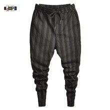Idopy ファッションメンズトレンドストレッチハーレムジーンズ巾着快適なストライプハーレム快適なカフズボンジョギング男性