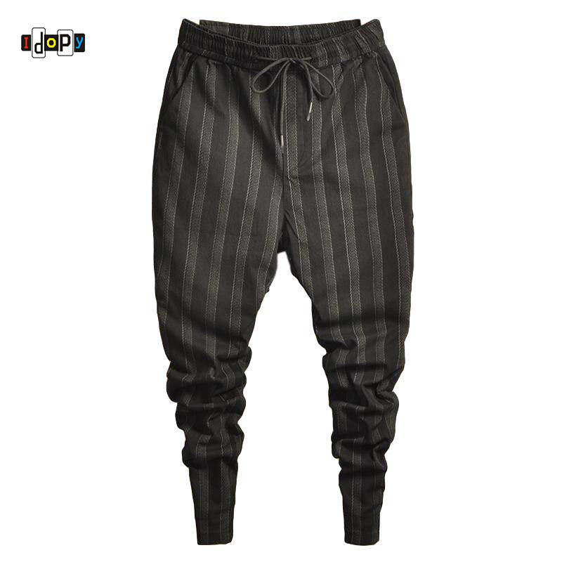 Idopy Fashion Mens Trend Stretchy Harem Jeans Drawstring Comfy Striped Harem Comfortable Cuffed Trousers Joggers For Male