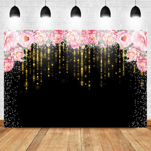 Mehofoto Floral Photography Backdrop Back Birthday Party Background Gold Tassel Photo  Mothers Day