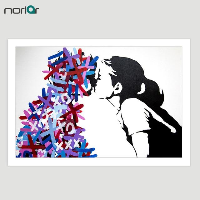 Hd Dicetak F Street Art Graffiti Ciuman Kanvas Lukisan Poster Wall Art Picture Home Decor No