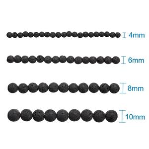 """Image 2 - 20Strands Round Black Natural Lava Beads for Jewelry Making DIY Necklace Bracelet 4 6 8 10 12mm hole: 0.5~1mm,15""""~16""""/Strand"""