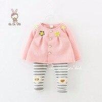 2016 Flower Girls Clothing Set Toddler Girls Coat Pink Stripe Sequin Heart Leggings Baby Girls Baby