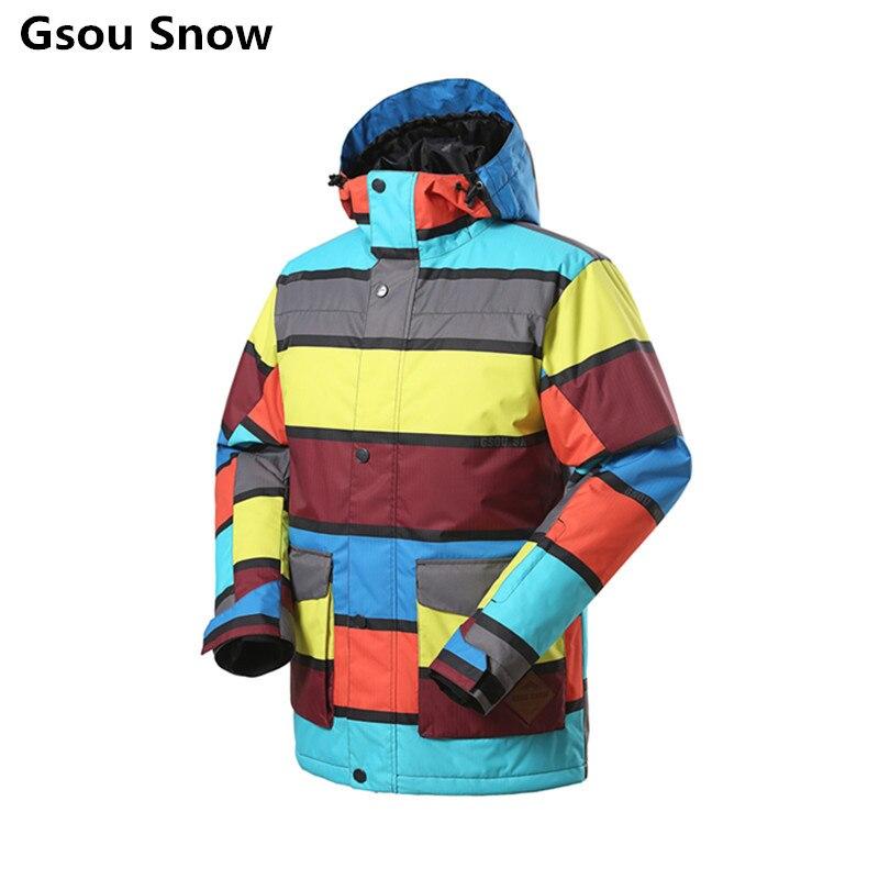 Prix pour Gsou Snow Marque Ski Veste Hommes Snowboard Veste Hommes Sport En Plein Air Vêtements de Ski Chaquetas Hombre Esqui Chaud Étanche