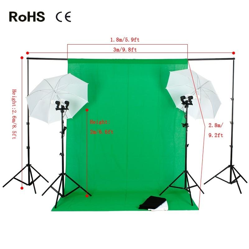 Photography Studio Set:Translucent Soft Light Umbrella with E27 Double Lamp Holder&2.6m*3m Studio background&Cotton Backdrop