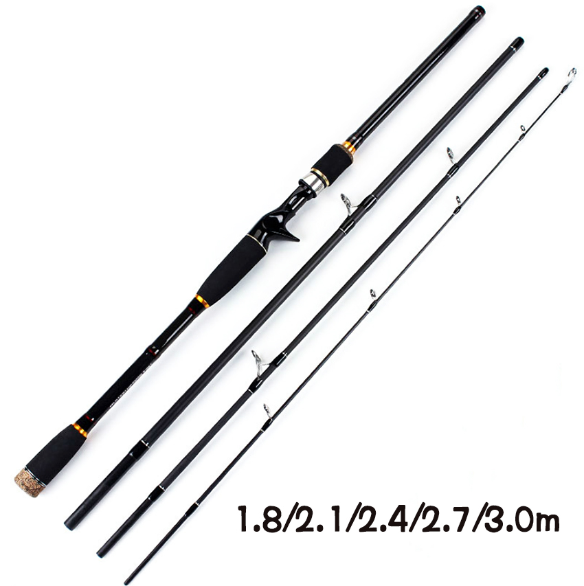 1.8 2.1 2.4 2.7 3.0m 100% Carbon New Quality 4 sections Spinning Fishing Rod Straight and Casting Handle Lure Rod