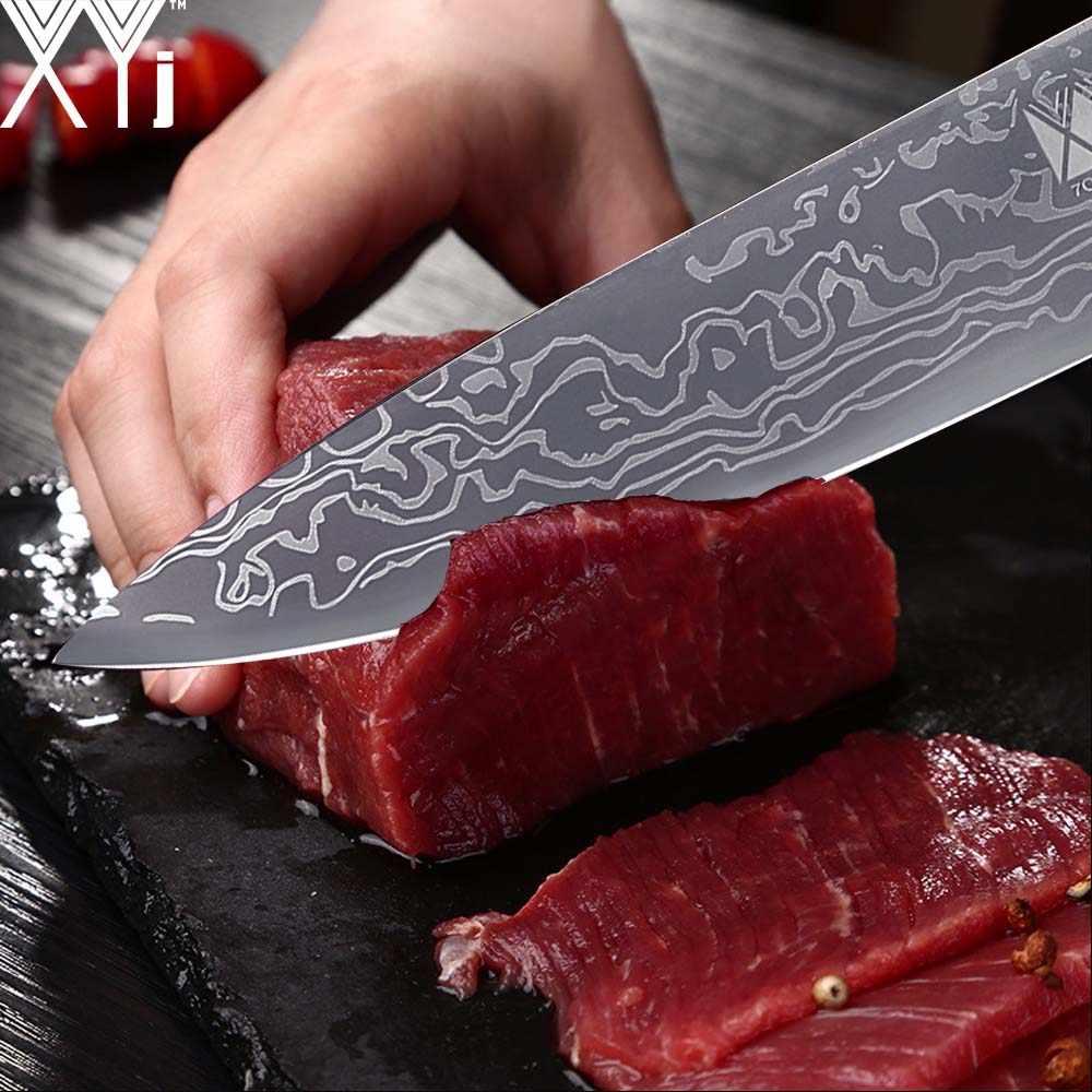 XYj 6 قطعة المطبخ المقاوم للصدأ طاقم سكاكين من الصلب شارب عالية الكربون الجمال نمط شفرة اللون الخشب مقبض السكاكين أدوات الطبخ