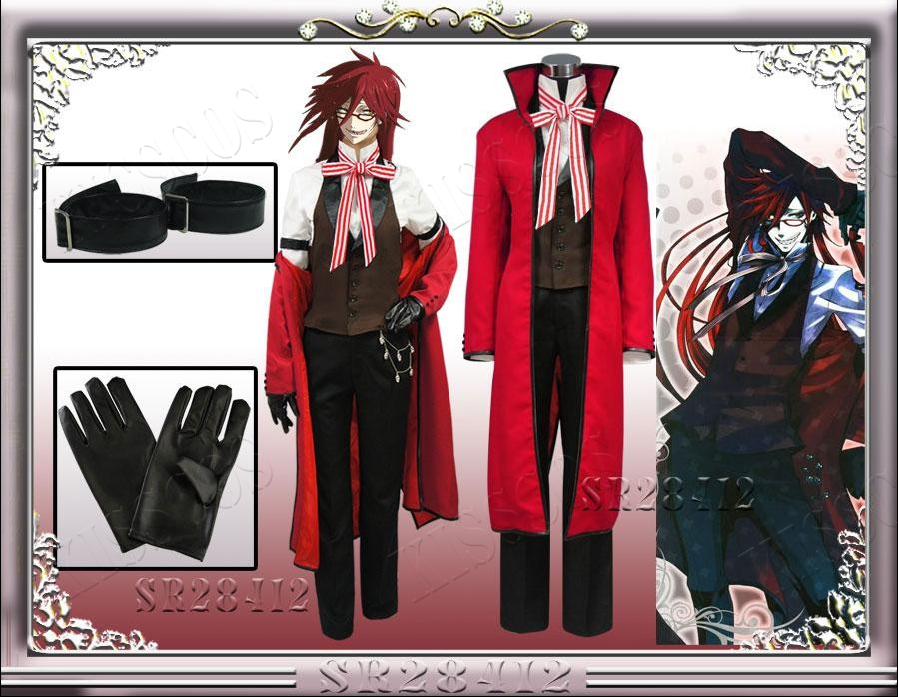 Anime Black Butler Death Shinigami Grell Sutcliff Cosplay Red Uniform Outfit Glasses Carnaval Halloween Costumes for Women Men black butler kuroshitsuji grell sutcliff cosplay wigs long red synthetic hair women girl anime party wig red glasses chain