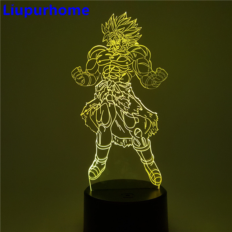 Lights & Lighting Dragon Ball Broly Vs Vegeta Led Night Light Dragon Ball Super Anime Figure Green Rock Base Table Lamp Lampara Dragon Ball Dbz Goods Of Every Description Are Available Led Night Lights