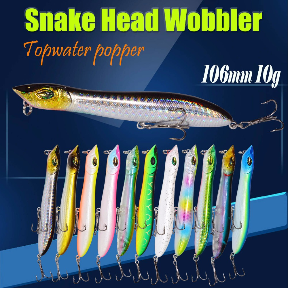 Snake Head Popper Bait Plastic Baits Lure Fishing Peche Iscas Artificial Para Pesca Fodder 2pcs Hard Lure 106mm/10g Fishing Lur hengjia 1pc abs plastic crank bait fishing lure 7 5cm 11 5g hard baits fishing tackle lifelike leurre peche swimbait pike lure