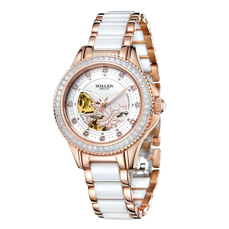 SOLLEN Marque De Luxe Creux Céramique Montre Mécanique De Mode Cristal Or Femmes Montres Véritable Montres reloj mujer