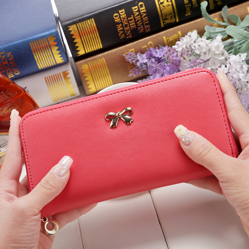 2017 women long clutch Wallets female Fashion PU Leather Bowknot coin bag phone purses Famous designer lady cards holder wallet korean style famous brand designer women short wallet faux suede leather coin bag card holder lady day clutches purses&wallets