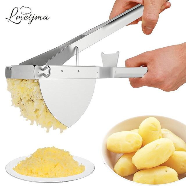 LMETJMA Potato Ricer Stainless Steel Potato Masher Heavy Duty Potato Ricer Masher For Baby Food Fruit Vegetable Juicer KC0154