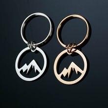Anéis chave chaveiro de aço inoxidável oco alpinismo entusiastas Monte Fuji Montanha de Neve chaveiro pingente anel jóias