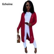 Women Plus Size Hole Knit Long Cardigans Knited Sweater Winter Outwear Female Sleeve Loose  Irregular femme