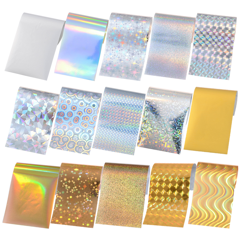 15 Pieces Pack Nail Foils Hologram Starry Sky Laser Glitter Holo Tips Shimmer Manicure Nail Art Transfer Sticker 4*13cm top nail 20 rolls of laser gold silver glitter striping tape line nail art tips decals beauty transfer foil stickers for nails