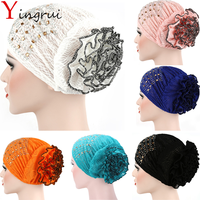Indian Bandanas Women Turban Headband Beanie Rhinestone Headwrap Flower Muslim Ladies Lace Confinement Hat Cap Winter Warm
