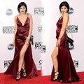American Music Awards Kylie Jenner vestido de la celebridad Sexy V cuello correa de espagueti Backless borgoña vino tinto alta hendidura Red Carpet