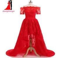新しいリアル写真hi-loウエディングドレスショートスリーブレースイブニングドレス2017赤オフショル