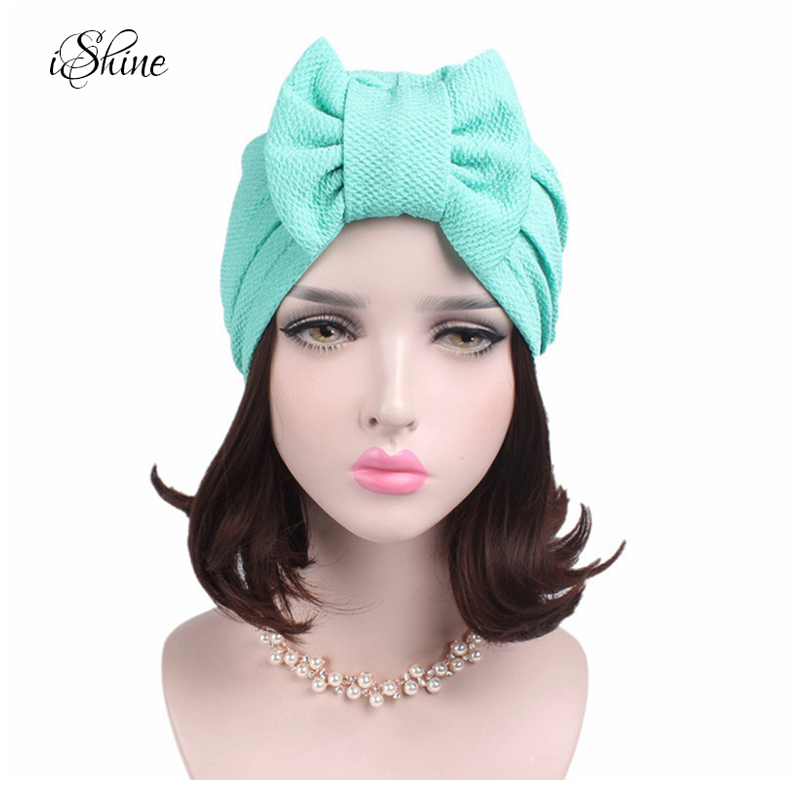 Indian Style Kerchief Covering Head Hat Confinement Cap Solid Color Bowknot Style Eucomis Comosa Muslim Hat Chemotherapy Beanies