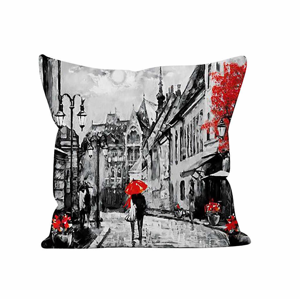 День Святого Валентина декоративная подушка для дома обложка живописный Лондон башня Рим Париж здания печать подушки, декоративная подушка случае Ян