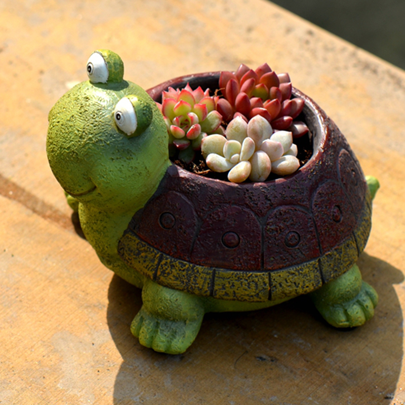 1pc Cute Cartoon Turtle Planter For Succulents Decorative Desktop Flower Pot Mini Bonsai Home Garden Decoration In Pots Planters From