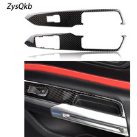 For Mustang Car Interior Carbon Fiber Window Control Switch Panel Auto Sticker Decor Covers 2015 2017 Styling Accessaries
