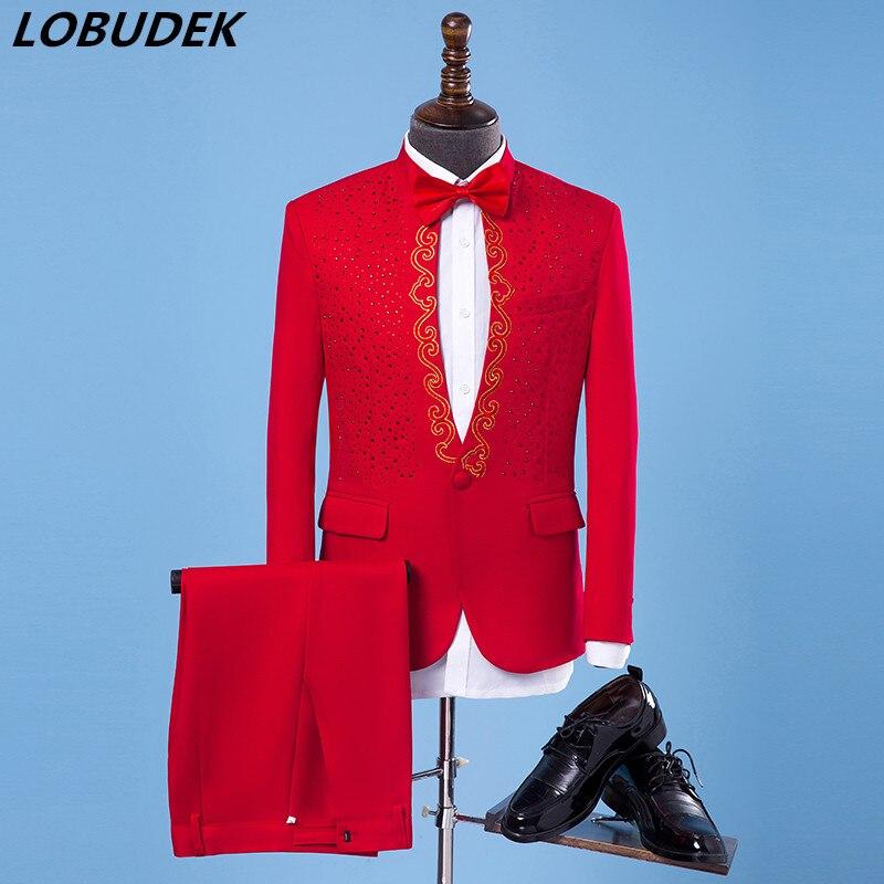 (Veste + pantalon) mâle Chanteur Performance Costume Hôte spectacle ensemble De Mariage Parti Robes De Mode Broderie Paillettes Blazers costume