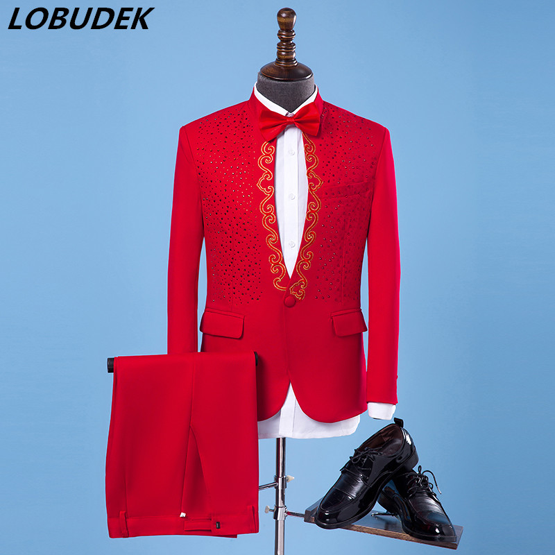 (jacket+pants) Male Singer Performance Suit Host Stage show set Wedding Party Dresses Fashion Embroidery Sequins Blazers costume