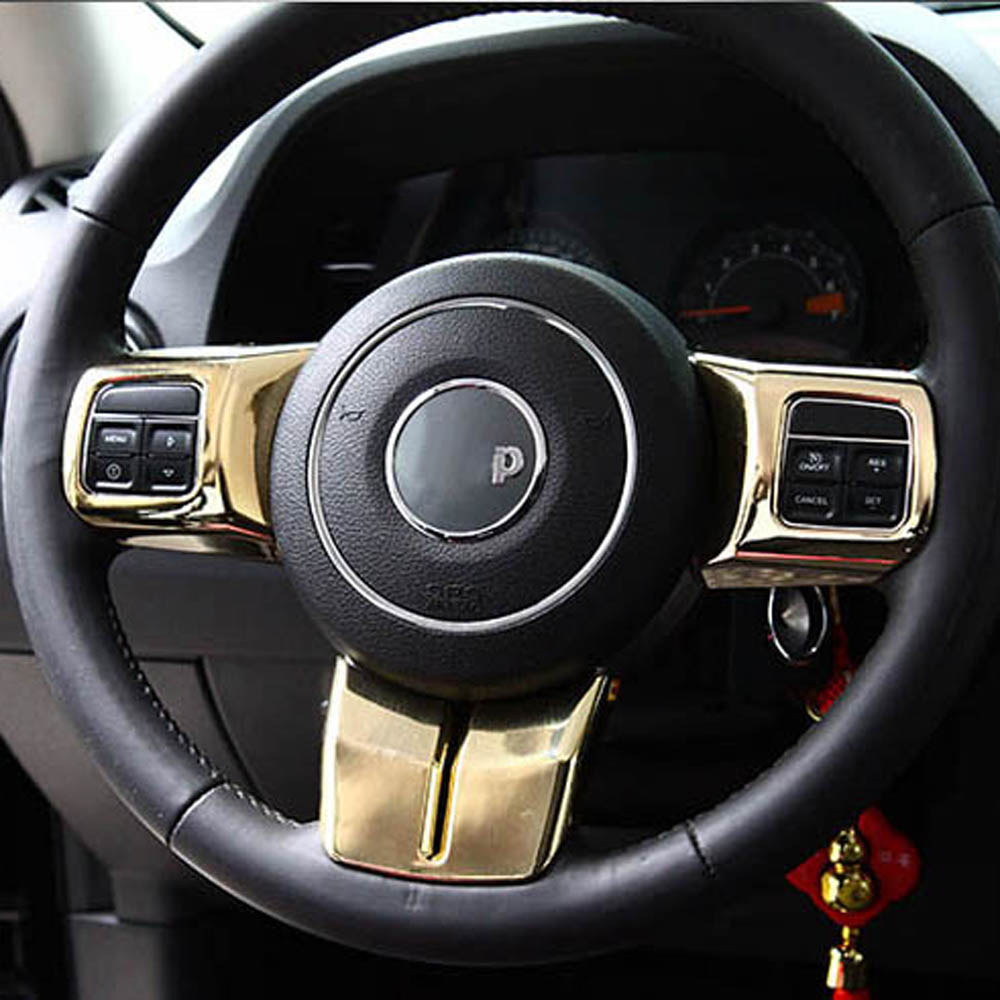 Interior Accessories for Jeep grand cherokee Wrangler Compass Patriot steering Wheel buttons decorative cover trim sticker new product factory price high quality steering wheel audio control buttons for kia k2 rio steering wheel button