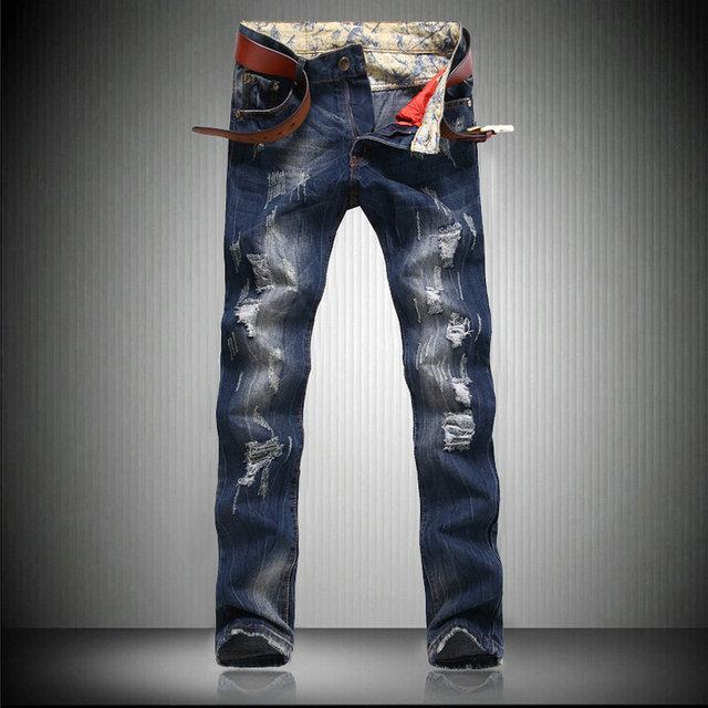 100% authentique c7824 45055 € 26.1 |Nouvelle Marque Hommes de Mode Déchiré Trou Jeans Homme Designer  Lavé Affligée Détruits Skinny Slim Straight Denim Jeans Homme dans Jeans de  ...