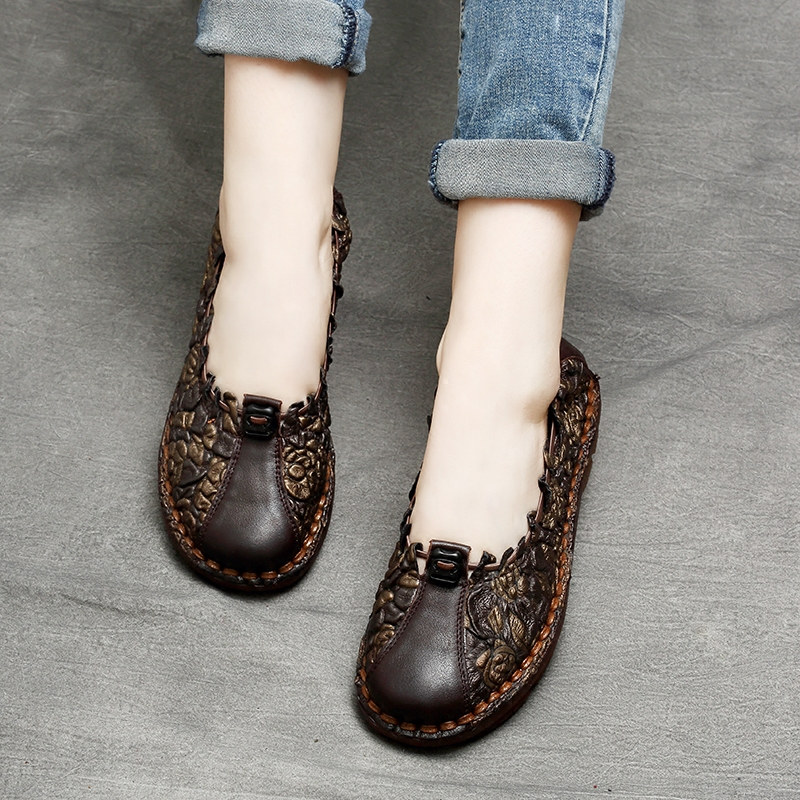 Tyawkiho Plus Size Women Black Embroidery Genuine Leather Flats Designer Lady Ballet Flats Slip On Handmade Women Loafers Shoe