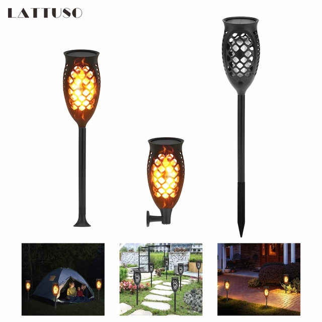 LATTUSO LED Solar Flame Flickering Lawn Lamps Led Torch Light Realistic Dancing Flame Light IP65 Outdoor Garden Decor Flame Lamp