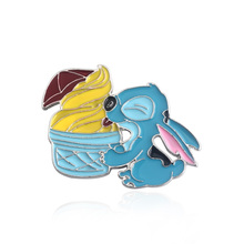 Cartoon Lilo Stitch Brooches pins stitch and the ice cream cute figure Blue Enamel for Women kids Cosplay Jewelry shirt pin
