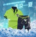 2016 Nueva Moda Hombre Sólido Juego de Sudor de Secado Rápido Patrón Masculino de Ocio Pantalones Cortos de Los Hombres de Manga Corta Camiseta de Verano Establecido Pormotion
