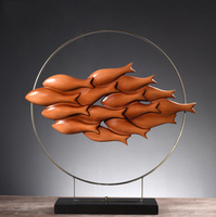 Group of the fish statue living room decoration TV cabinet entrance study model room of soft decoration process equipment