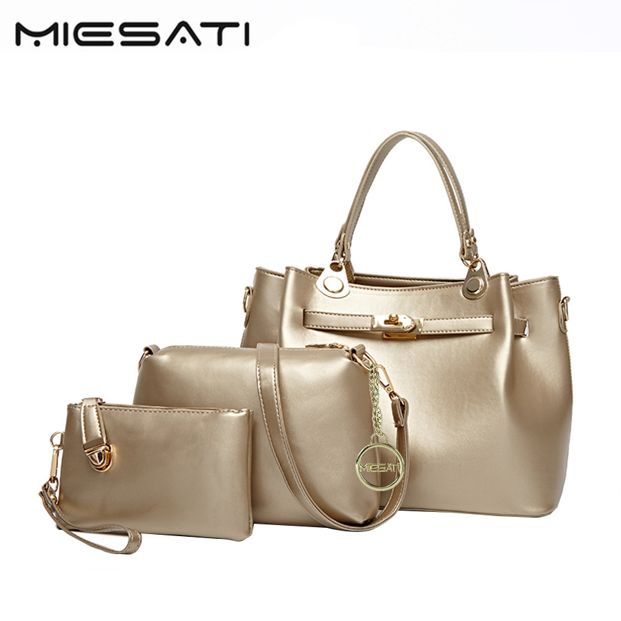 MIESATI Shoulder Bags For Women 2017 Pu Casual Fashion Shoulder Bag 3 Sets Ladies All-Match Solid Handbags Wallet Composite Bags 2017 fashion all match retro split leather women bag top grade small shoulder bags multilayer mini chain women messenger bags