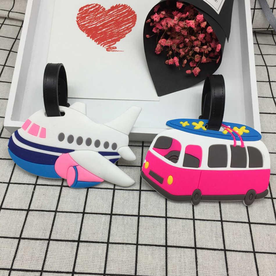 Accesorios de viaje, etiqueta de equipaje creativo, Maleta de Gel de sílice de dibujos animados de animales, soporte para documento de identidad, bolsa de equipaje, etiqueta portátil