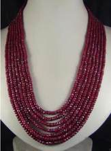 "ZCD 1029+++2x4mm NATURAL FACETED BEADS NECKLACE 7 STRAND 17""-24""(China)"